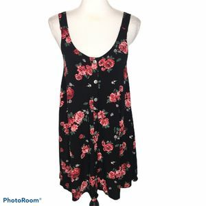 Gypsy Warrior Floral Print Button Front Dress Sm